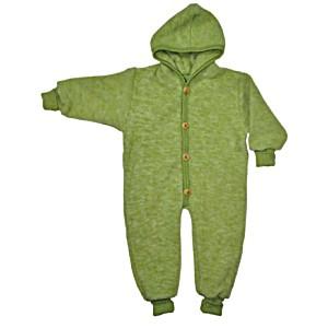 Комбинезон детский из шерстяного флиса с капюшоном на пуговицах COSILANA (Козилана) 100% шерсть цвет Зеленый Меланж